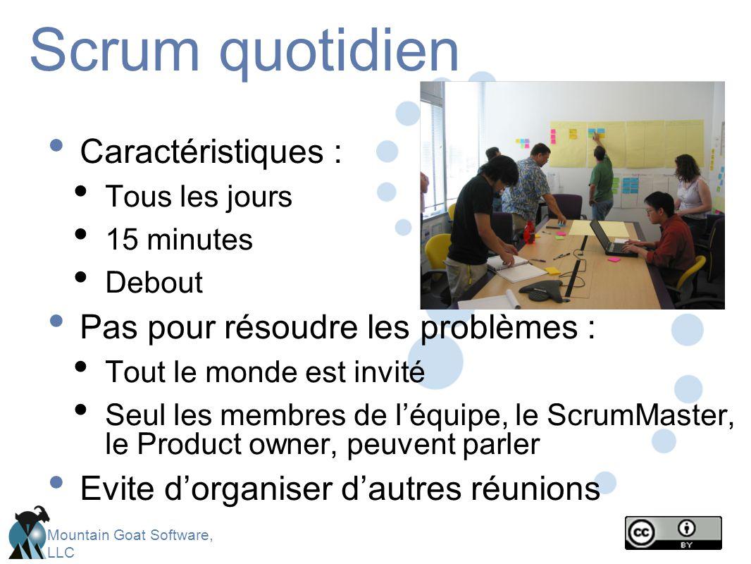 Mountain Goat Software, LLC Scrum quotidien Caractéristiques : Tous les jours 15 minutes Debout Pas pour résoudre les problèmes : Tout le monde est invité Seul les membres de l'équipe, le ScrumMaster, le Product owner, peuvent parler Evite d'organiser d'autres réunions