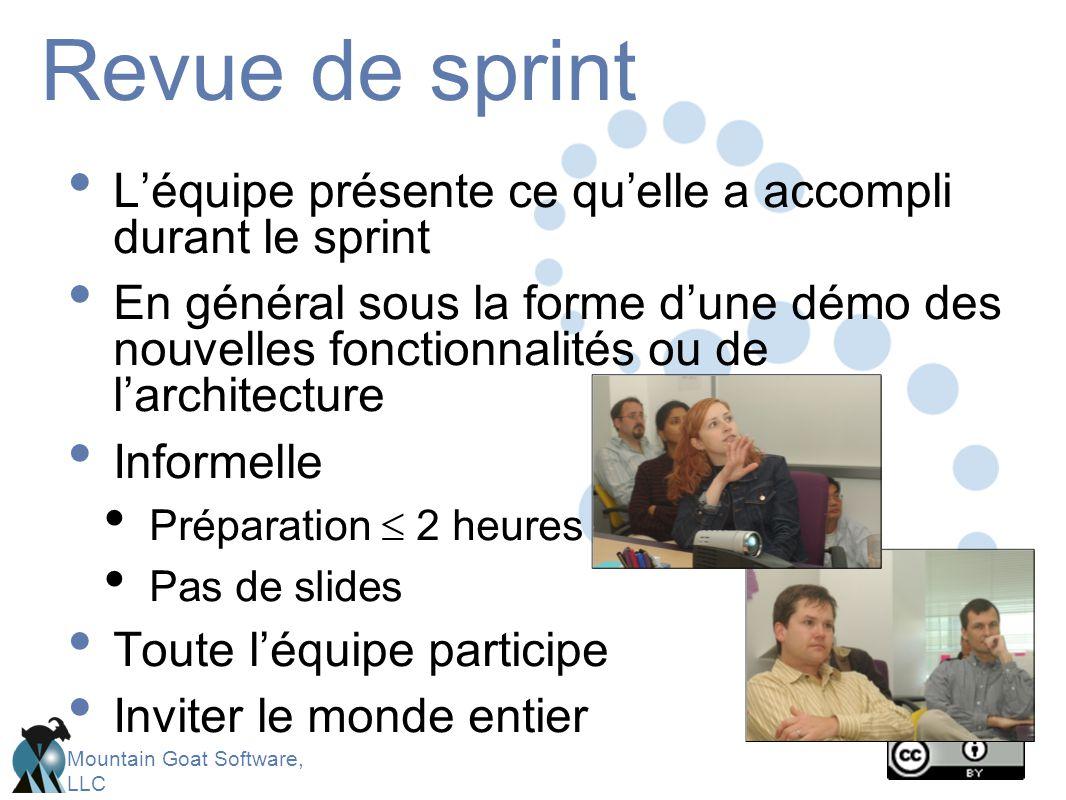 Mountain Goat Software, LLC Revue de sprint L'équipe présente ce qu'elle a accompli durant le sprint En général sous la forme d'une démo des nouvelles fonctionnalités ou de l'architecture Informelle Préparation  2 heures Pas de slides Toute l'équipe participe Inviter le monde entier