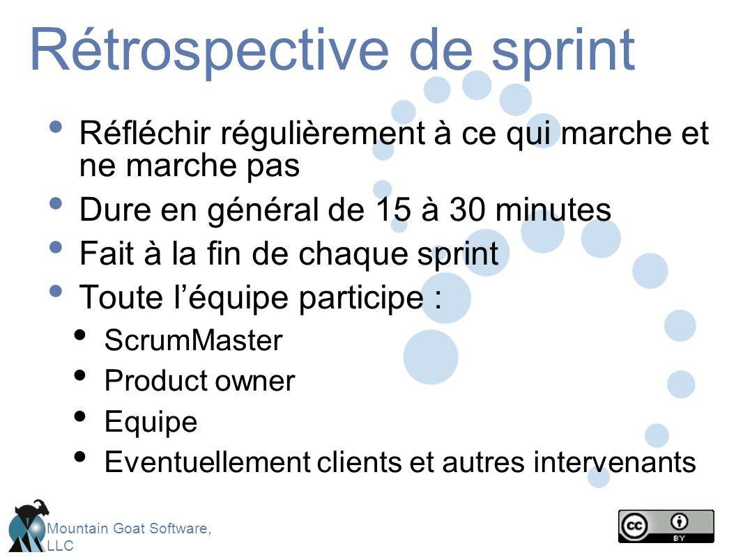 Mountain Goat Software, LLC Rétrospective de sprint Réfléchir régulièrement à ce qui marche et ne marche pas Dure en général de 15 à 30 minutes Fait à la fin de chaque sprint Toute l'équipe participe : ScrumMaster Product owner Equipe Eventuellement clients et autres intervenants