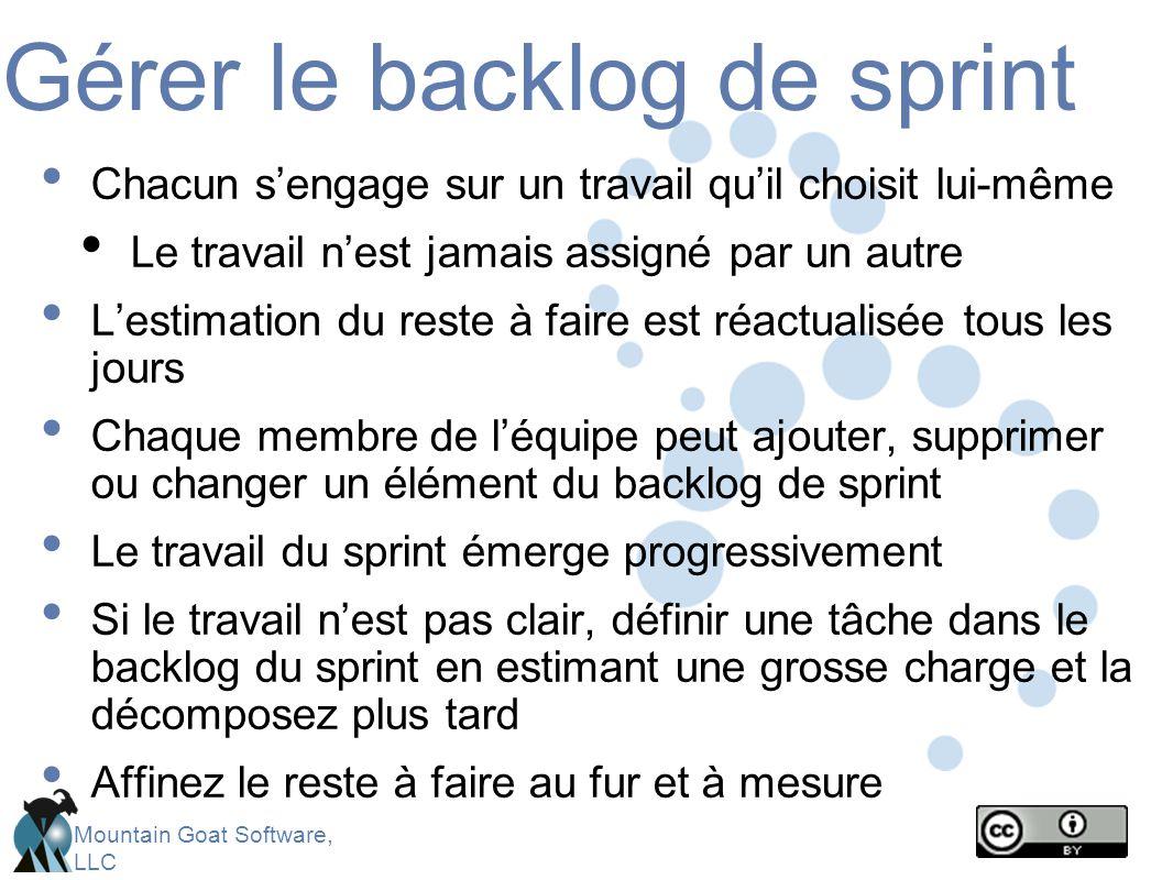 Mountain Goat Software, LLC Gérer le backlog de sprint Chacun s'engage sur un travail qu'il choisit lui-même Le travail n'est jamais assigné par un autre L'estimation du reste à faire est réactualisée tous les jours Chaque membre de l'équipe peut ajouter, supprimer ou changer un élément du backlog de sprint Le travail du sprint émerge progressivement Si le travail n'est pas clair, définir une tâche dans le backlog du sprint en estimant une grosse charge et la décomposez plus tard Affinez le reste à faire au fur et à mesure