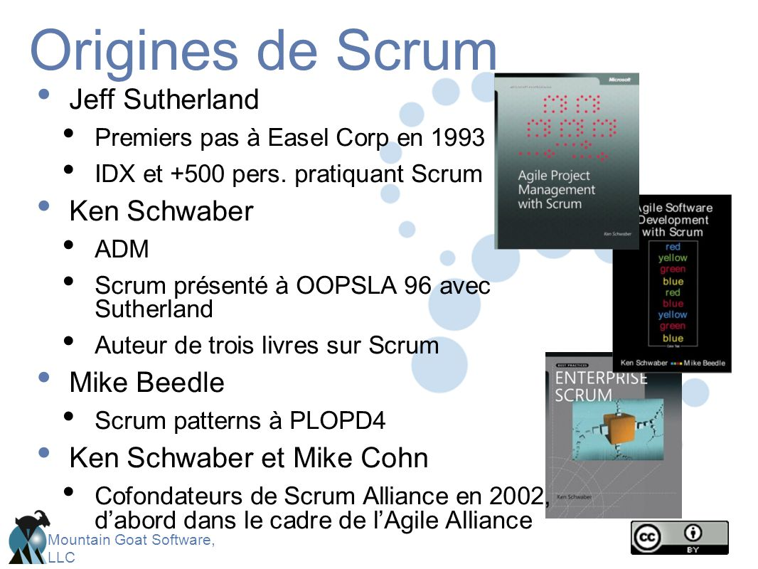 Mountain Goat Software, LLC Le framework Scrum Product owner ScrumMaster Equipe Rôles Planification de Sprint Revue de Sprint Rétrospective de Sprint Scrum quotidien Cérémonies Backlog de produit Backlog de Sprint Burndown charts Artefacts