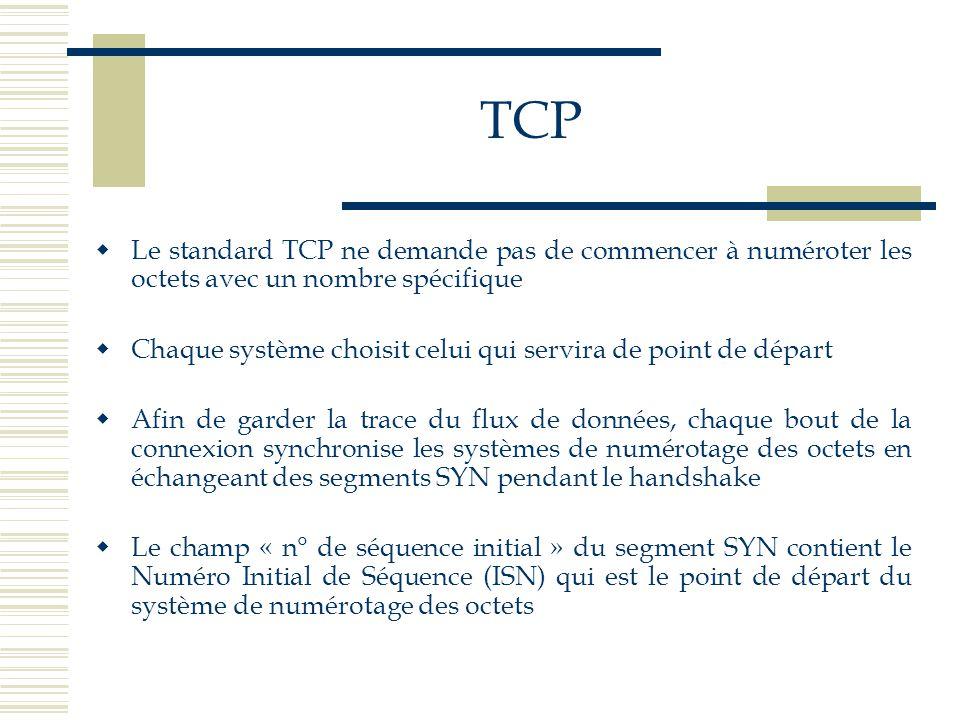 TCP  Le standard TCP ne demande pas de commencer à numéroter les octets avec un nombre spécifique  Chaque système choisit celui qui servira de point
