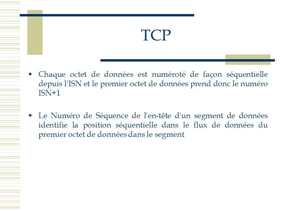 TCP  Chaque octet de données est numéroté de façon séquentielle depuis l'ISN et le premier octet de données prend donc le numéro ISN+1  Le Numéro de