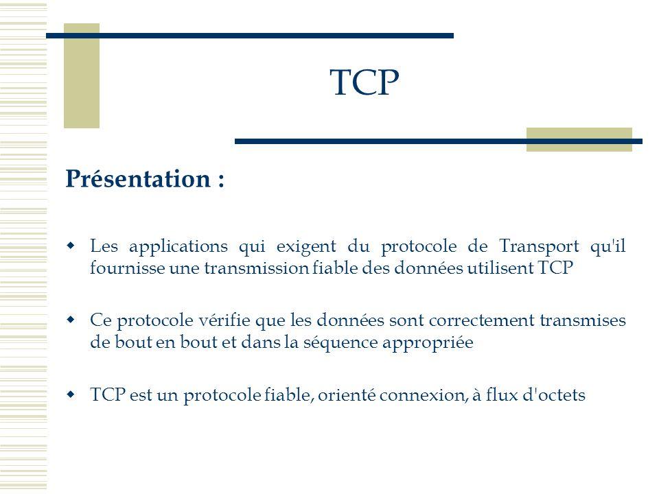 TCP Présentation :  Les applications qui exigent du protocole de Transport qu'il fournisse une transmission fiable des données utilisent TCP  Ce pro