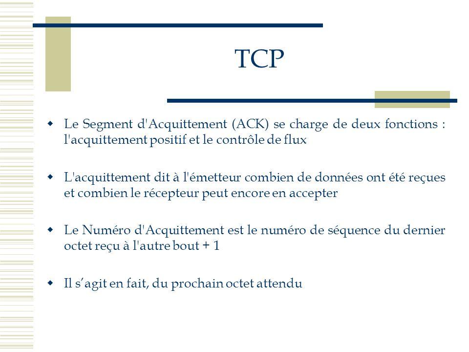 TCP  Le Segment d'Acquittement (ACK) se charge de deux fonctions : l'acquittement positif et le contrôle de flux  L'acquittement dit à l'émetteur co