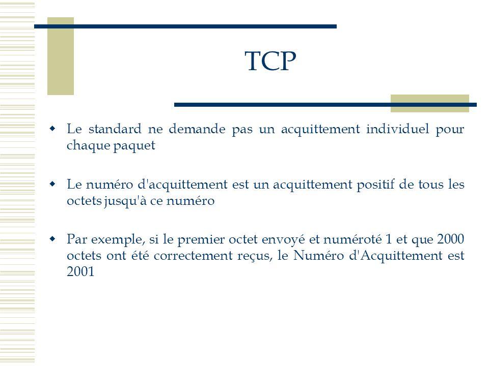 TCP  Le standard ne demande pas un acquittement individuel pour chaque paquet  Le numéro d'acquittement est un acquittement positif de tous les octe
