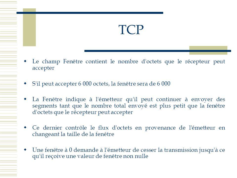 TCP  Le champ Fenêtre contient le nombre d'octets que le récepteur peut accepter  S'il peut accepter 6 000 octets, la fenêtre sera de 6 000  La Fen
