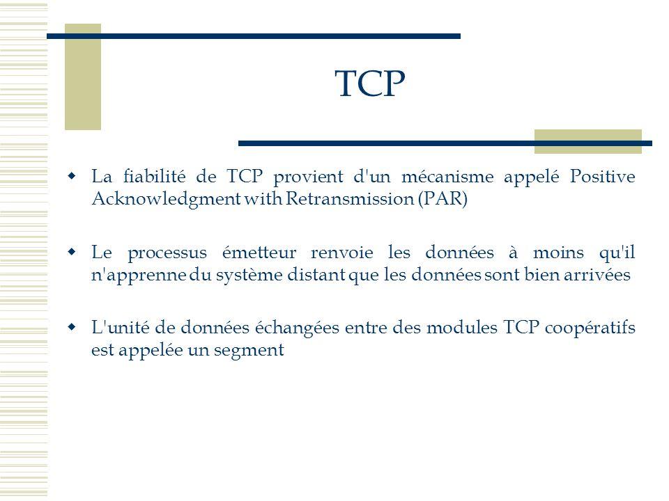 TCP  La fiabilité de TCP provient d'un mécanisme appelé Positive Acknowledgment with Retransmission (PAR)  Le processus émetteur renvoie les données