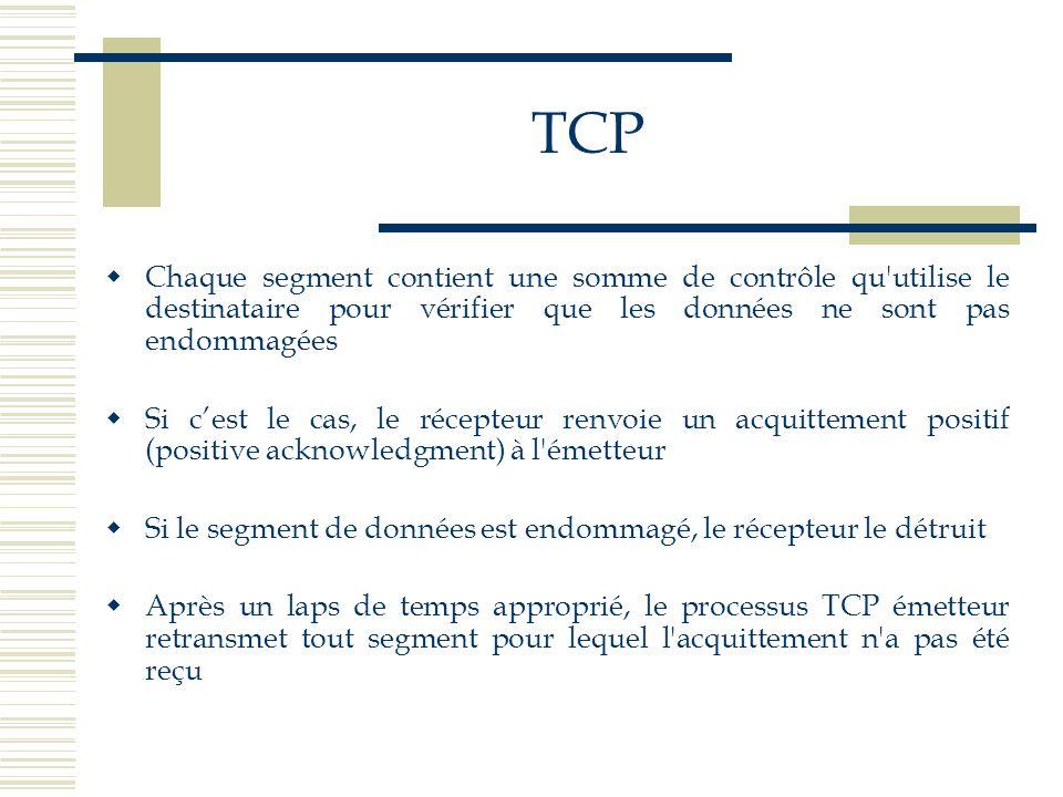 TCP  Chaque segment contient une somme de contrôle qu'utilise le destinataire pour vérifier que les données ne sont pas endommagées  Si c'est le cas