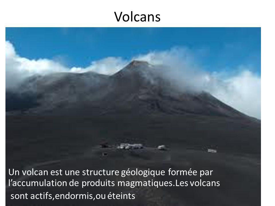Ils sont formés par le cratère,la cheminée principale,les cheminées secondaires et la chambre magmatique