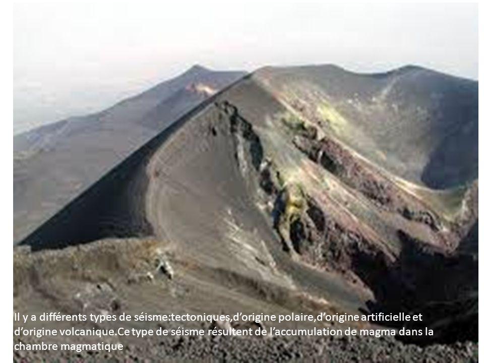 Il y a différents types de séisme:tectoniques,d'origine polaire,d'origine artificielle et d'origine volcanique.Ce type de séisme résultent de l'accumu