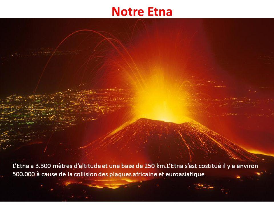 Notre Etna L'Etna a 3.300 mètres d'altitude et une base de 250 km.L'Etna s'est costitué il y a environ 500.000 à cause de la collision des plaques afr