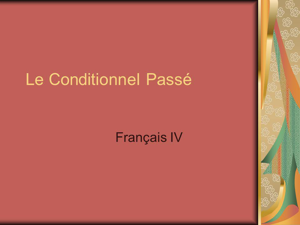 Past Conditional = Conditional Perfect Le conditionnel passé in French consists of the conditional form of the auxillary verb (avoir or etre) plus a past participle This verb translates as would have/ should have / could have done something
