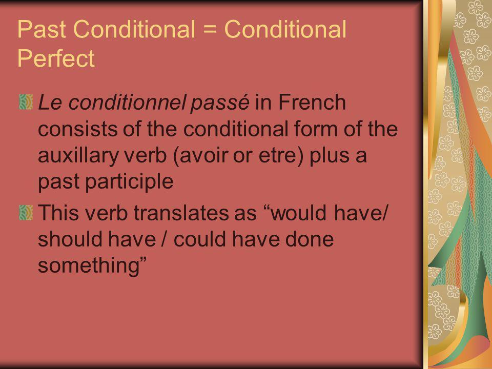 Formation AVOIR: J'auraisNous aurions Tu auraisVous auriez Il/elle/on auraitIls/elles auraient + a past participle EX: I would have finished my homework, but I had to work after school.