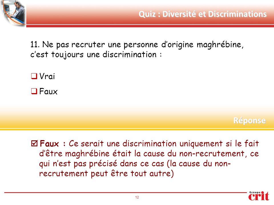 12 Quiz : Diversité et Discriminations 11. Ne pas recruter une personne d'origine maghrébine, c'est toujours une discrimination :  Vrai  Faux  Faux