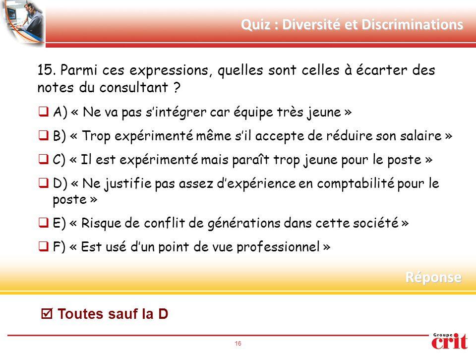 16 Quiz : Diversité et Discriminations 15. Parmi ces expressions, quelles sont celles à écarter des notes du consultant ?  A) « Ne va pas s'intégrer