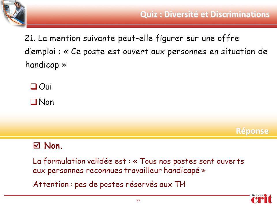Quiz : Diversité et Discriminations 21. La mention suivante peut-elle figurer sur une offre d'emploi : « Ce poste est ouvert aux personnes en situatio