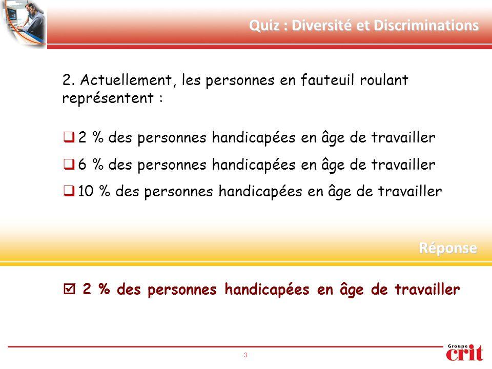 3 Quiz : Diversité et Discriminations 2. Actuellement, les personnes en fauteuil roulant représentent :  2 % des personnes handicapées en âge de trav