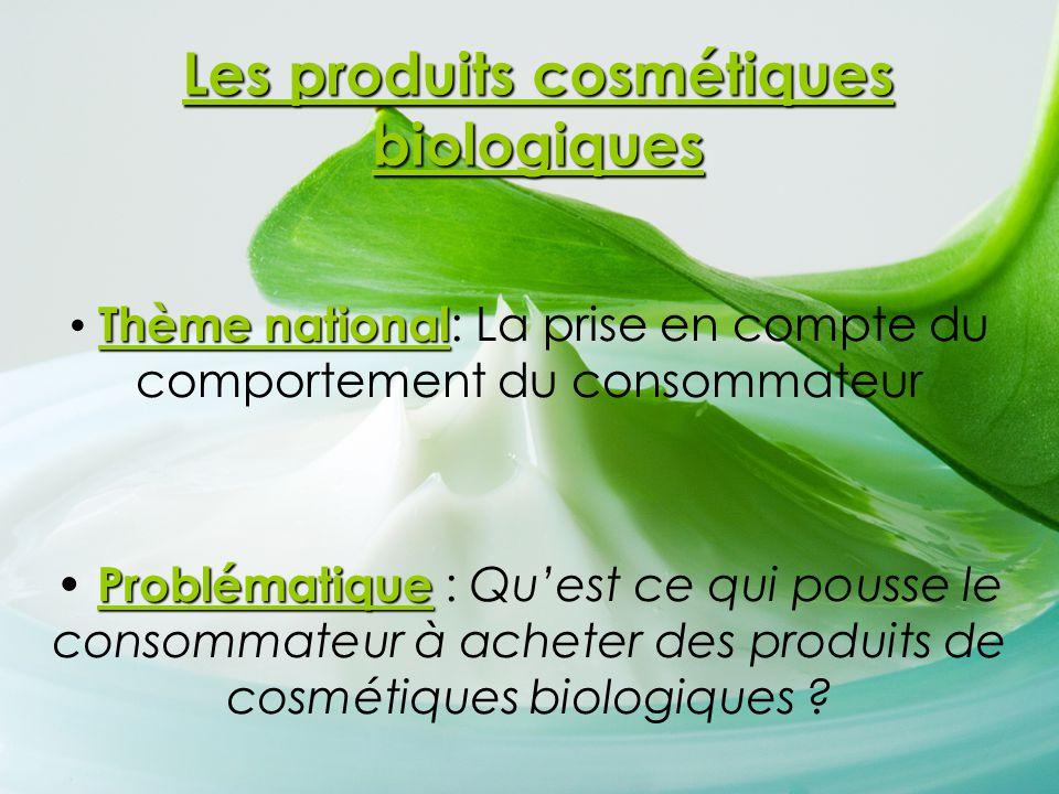 Les produits cosmétiques biologiques Thème national Thème national : La prise en compte du comportement du consommateur Problématique Problématique :
