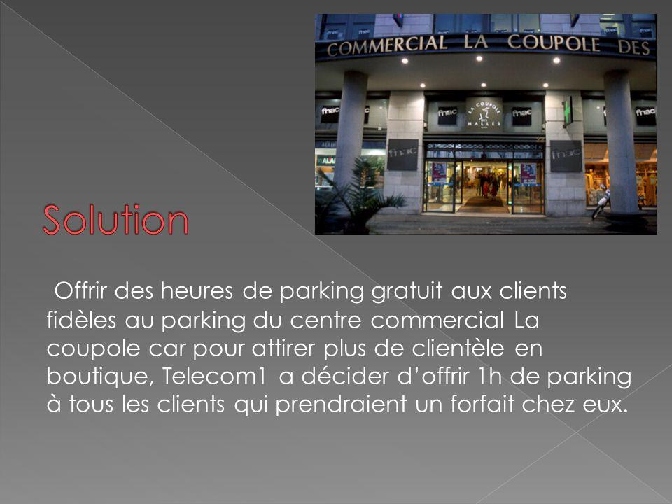 Offrir des heures de parking gratuit aux clients fidèles au parking du centre commercial La coupole car pour attirer plus de clientèle en boutique, Te