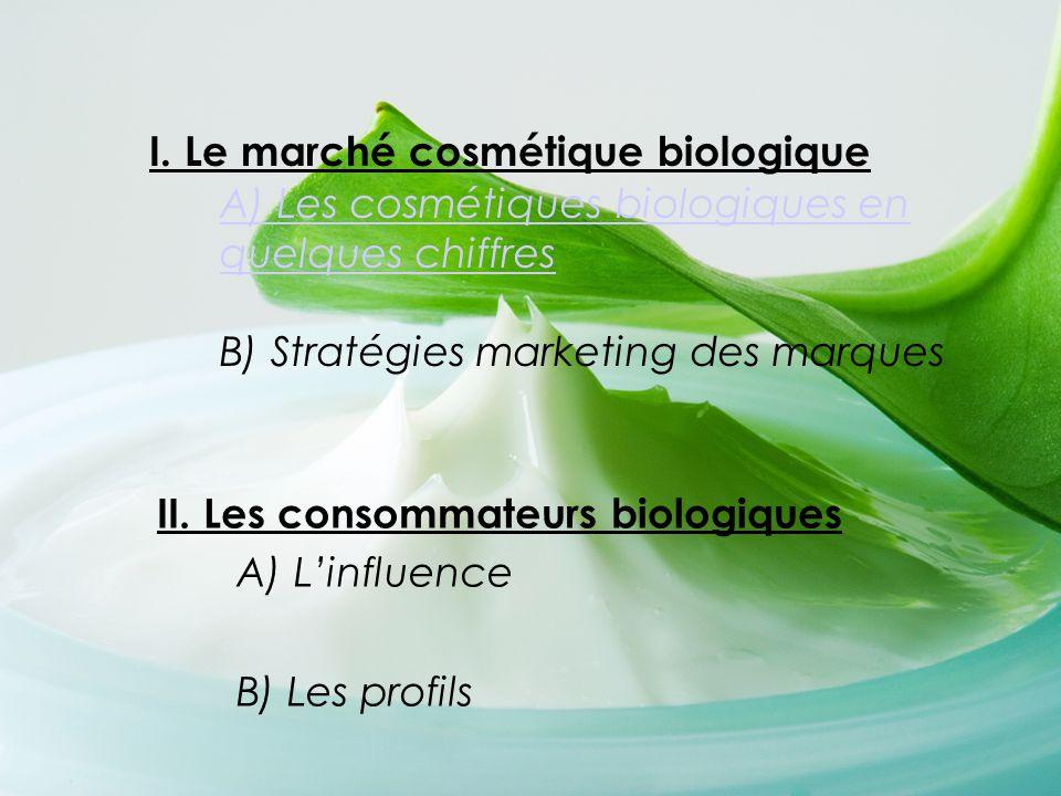 I. Le marché cosmétique biologique A) Les cosmétiques biologiques en quelques chiffres B) Stratégies marketing des marques A) Les cosmétiques biologiq
