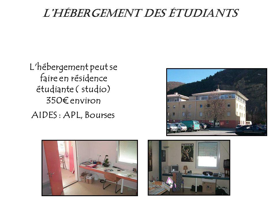 L'hébergement peut se faire en résidence étudiante ( studio) 350€ environ AIDES : APL, Bourses L'Hébergement des étudiants