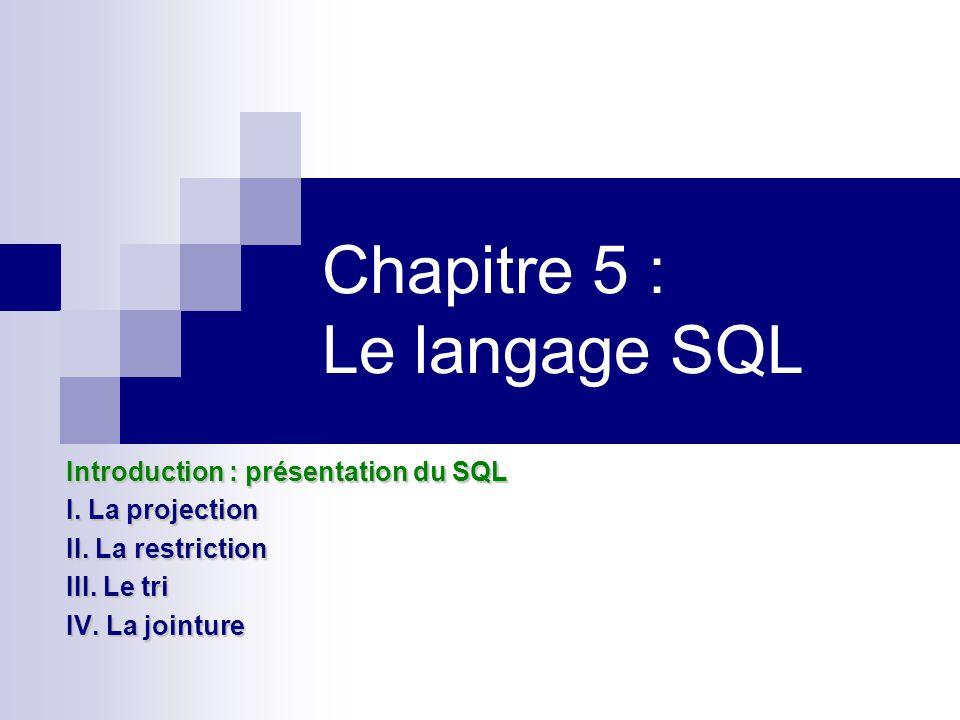 Chapitre 5 : Le langage SQL Introduction : présentation du SQL I. La projection II. La restriction III. Le tri IV. La jointure