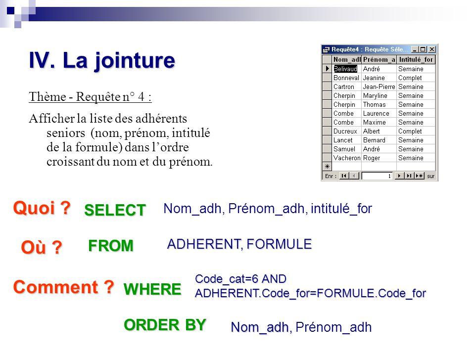 IV. La jointure Thème - Requête n° 4 : Afficher la liste des adhérents seniors (nom, prénom, intitulé de la formule) dans l'ordre croissant du nom et