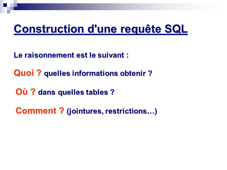 Construction d'une requête SQL Le raisonnement est le suivant : Quoi ? quelles informations obtenir ? Où ? dans quelles tables ? Comment ? (jointures,