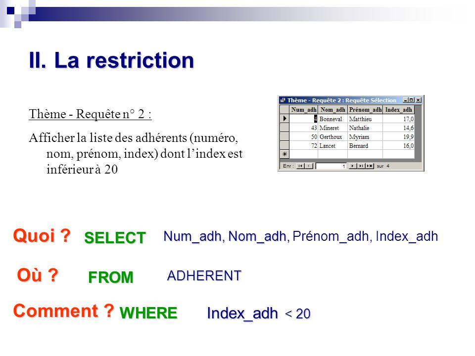 II. La restriction Thème - Requête n° 2 : Afficher la liste des adhérents (numéro, nom, prénom, index) dont l'index est inférieur à 20 Quoi ? Num_adh,