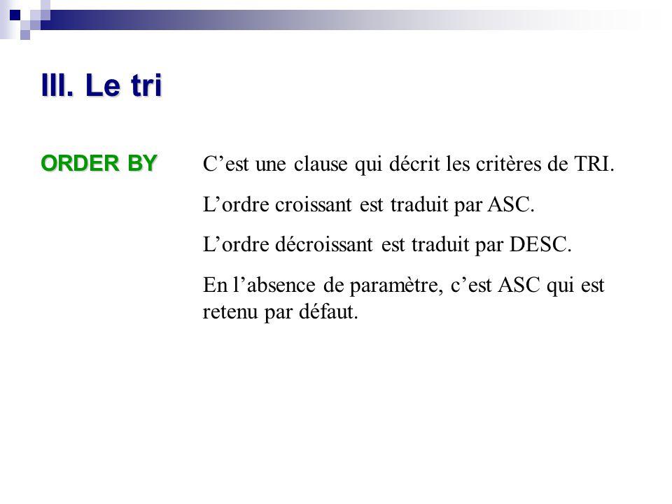 III. Le tri ORDER BY C'est une clause qui décrit les critères de TRI. L'ordre croissant est traduit par ASC. L'ordre décroissant est traduit par DESC.