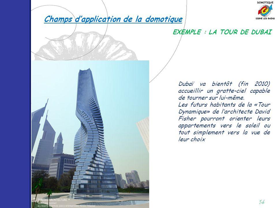 14 EXEMPLE : LA TOUR DE DUBAI Dubaï va bientôt (fin 2010) accueillir un gratte-ciel capable de tourner sur lui-même. Les futurs habitants de la «Tour