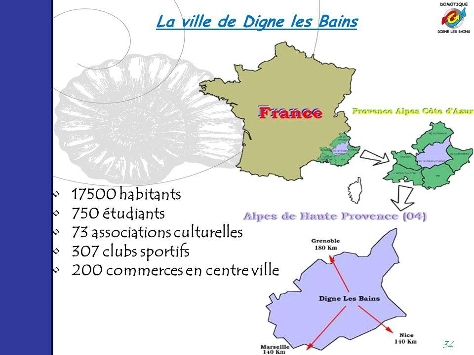 34 17500 habitants 750 étudiants 73 associations culturelles 307 clubs sportifs 200 commerces en centre ville La ville de Digne les Bains