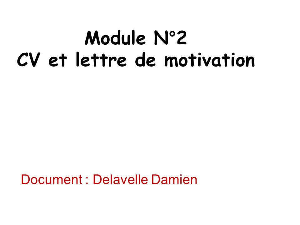 Module N°2 CV et lettre de motivation Document : Delavelle Damien