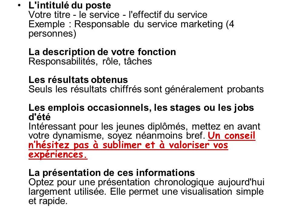 L'intitulé du poste Votre titre - le service - l'effectif du service Exemple : Responsable du service marketing (4 personnes) La description de votre