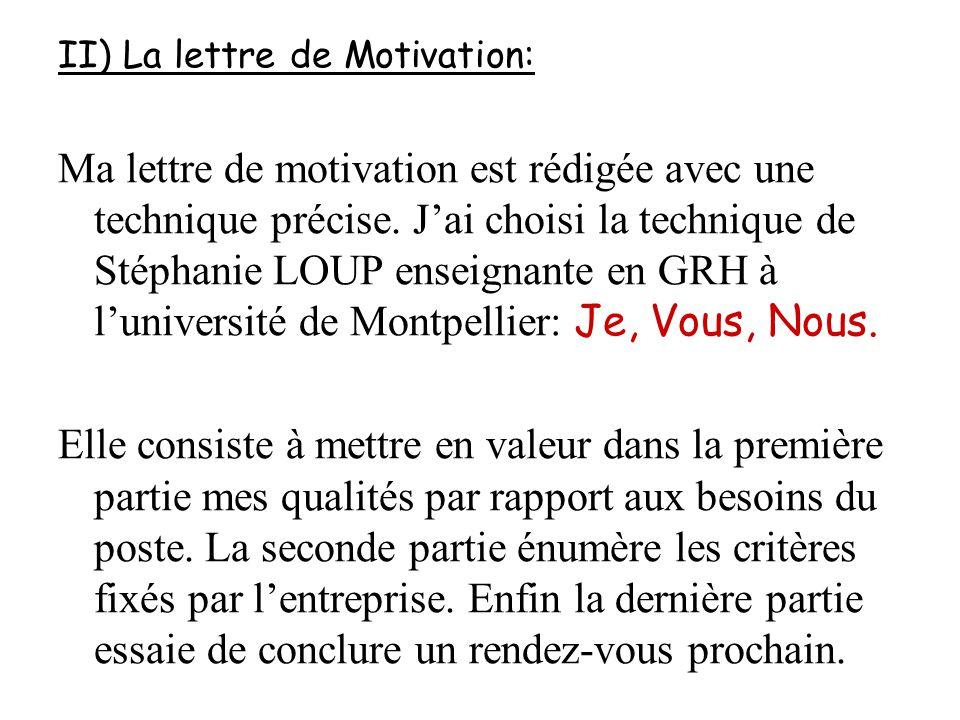 II) La lettre de Motivation: Ma lettre de motivation est rédigée avec une technique précise. J'ai choisi la technique de Stéphanie LOUP enseignante en