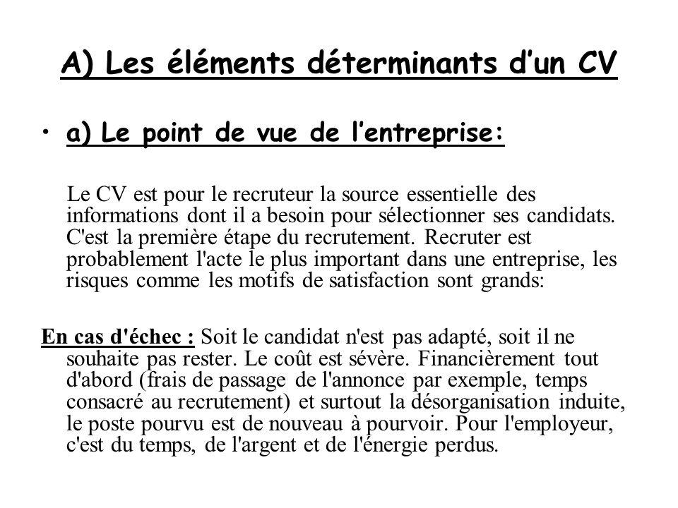 A) Les éléments déterminants d'un CV a) Le point de vue de l'entreprise: Le CV est pour le recruteur la source essentielle des informations dont il a