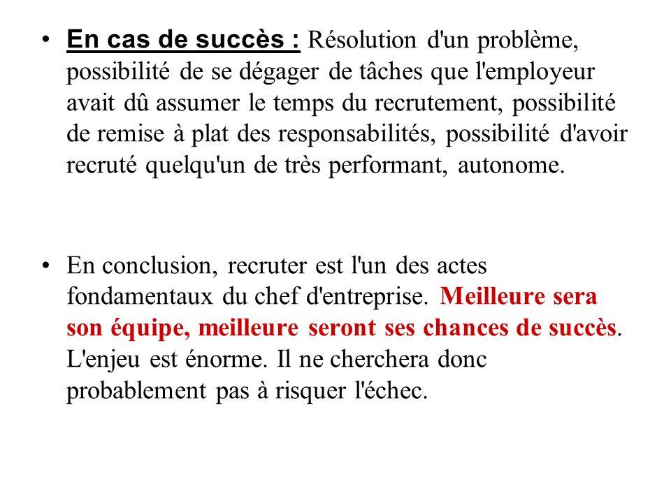 En cas de succès : Résolution d'un problème, possibilité de se dégager de tâches que l'employeur avait dû assumer le temps du recrutement, possibilité