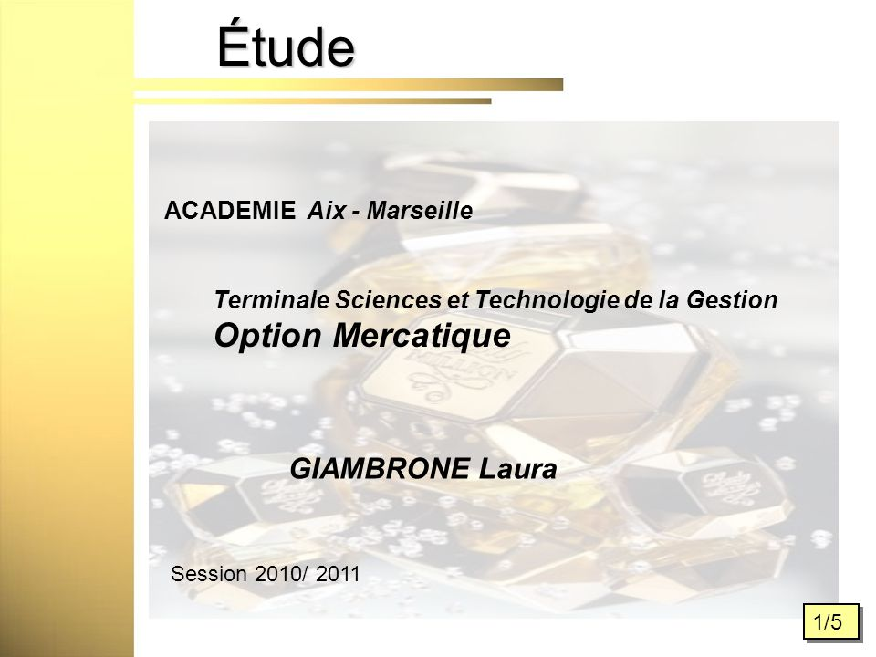 Étude 1/5 ACADEMIE Aix - Marseille Terminale Sciences et Technologie de la Gestion Option Mercatique Session 2010/ 2011 GIAMBRONE Laura