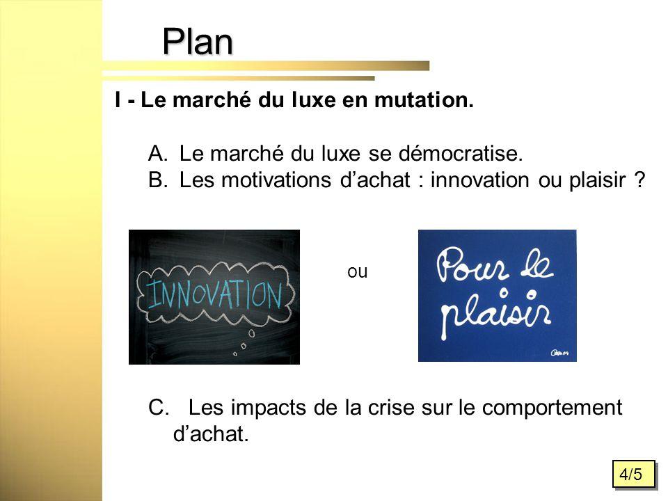 Plan 4/5 I - Le marché du luxe en mutation. A. Le marché du luxe se démocratise.
