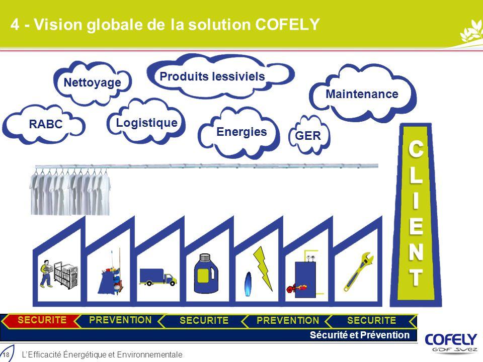 18 L'Efficacité Énergétique et Environnementale 4 - Vision globale de la solution COFELY SECURITEPREVENTION SECURITEPREVENTION SECURITE Sécurité et Pr