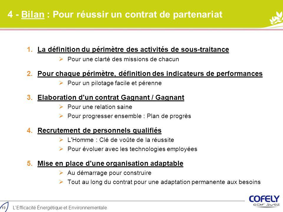19 L'Efficacité Énergétique et Environnementale 4 - Bilan : Pour réussir un contrat de partenariat 1.La définition du périmètre des activités de sous-