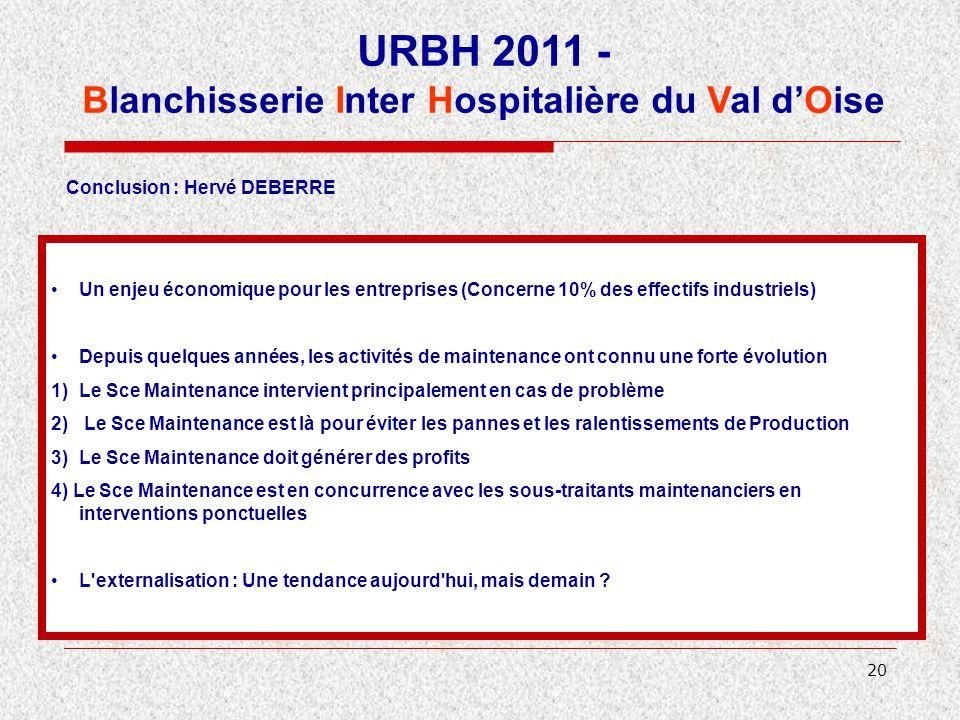 20 URBH 2011 - Blanchisserie Inter Hospitalière du Val d'Oise Conclusion : Hervé DEBERRE Un enjeu économique pour les entreprises (Concerne 10% des ef