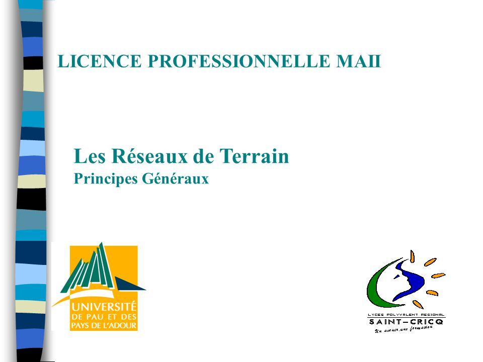 LICENCE PROFESSIONNELLE MAII Les Réseaux de Terrain Principes Généraux