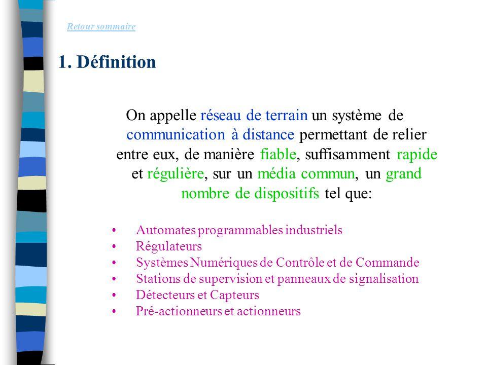 1. Définition Retour sommaire On appelle réseau de terrain un système de communication à distance permettant de relier entre eux, de manière fiable, s