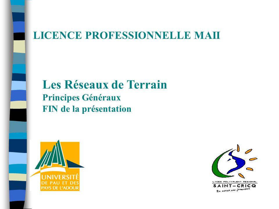 LICENCE PROFESSIONNELLE MAII Les Réseaux de Terrain Principes Généraux FIN de la présentation