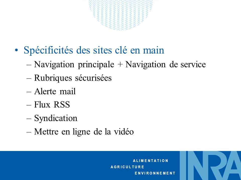 A L I M E N T A T I O N A G R I C U L T U R E E N V I R O N N E M E N T Spécificités des sites clé en main –Navigation principale + Navigation de service –Rubriques sécurisées –Alerte mail –Flux RSS –Syndication –Mettre en ligne de la vidéo