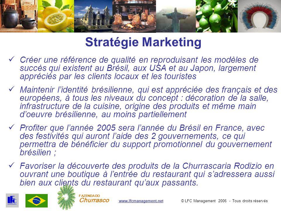 © LFC Management 2006 - Tous droits réservéswww.lfcmanagement.net FAZENDA DO Churrasco Stratégie Marketing Créer une référence de qualité en reproduis