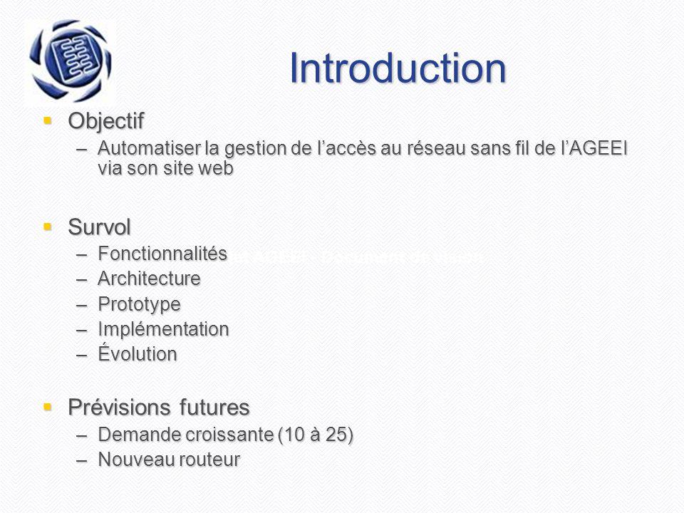 Projet AGEEI - Document de vision Introduction  Objectif –Automatiser la gestion de l'accès au réseau sans fil de l'AGEEI via son site web  Survol –Fonctionnalités –Architecture –Prototype –Implémentation –Évolution  Prévisions futures –Demande croissante (10 à 25) –Nouveau routeur