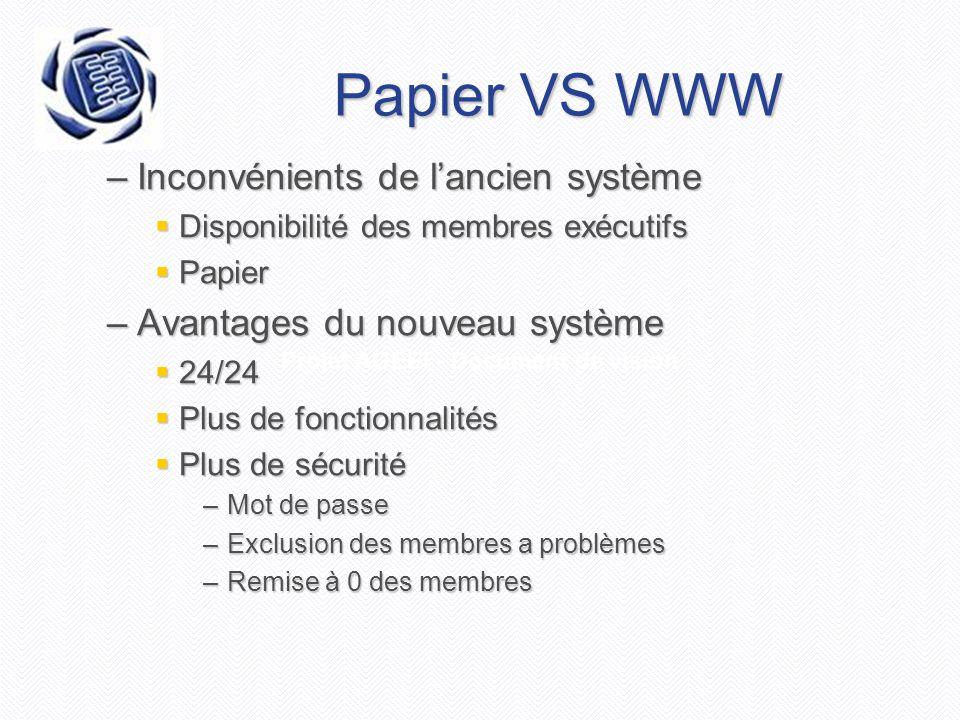 Projet AGEEI - Document de vision Papier VS WWW –Inconvénients de l'ancien système  Disponibilité des membres exécutifs  Papier –Avantages du nouvea